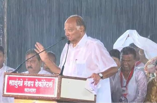 Soaked in rain, Pawar admits 'mistake' in Satara rally