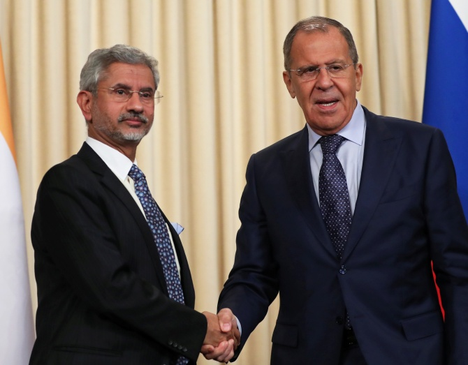 Russia's Foreign Minister Sergei Lavrov and his India's counterpart Subrahmanyam Jaishankar