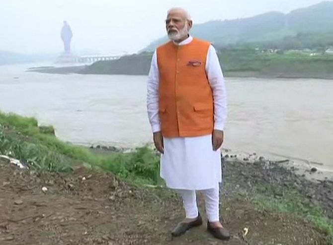 Modi turns 69; visits Statue of Unity, Sardar Sarovar