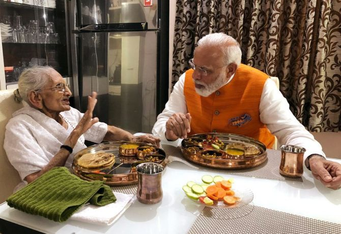 Full plate: Modi has lunch with mother on his birthday