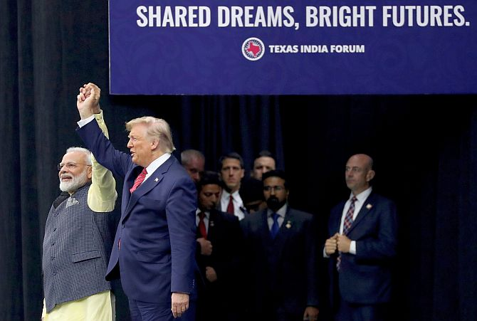 Prime Minister Narendra D Modi and US President Donald J Trump at the Howdy Modi event in Houston, September 22, 2019. Photograph: Jonathan Ernst/Reuters