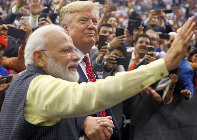 Prime Minister Narendra Damodardas Modi with United States President Donald John Trump at the Howdy Modi event in Houston, September 22, 2019. Photograph: Jonathan Ernst/Reuters