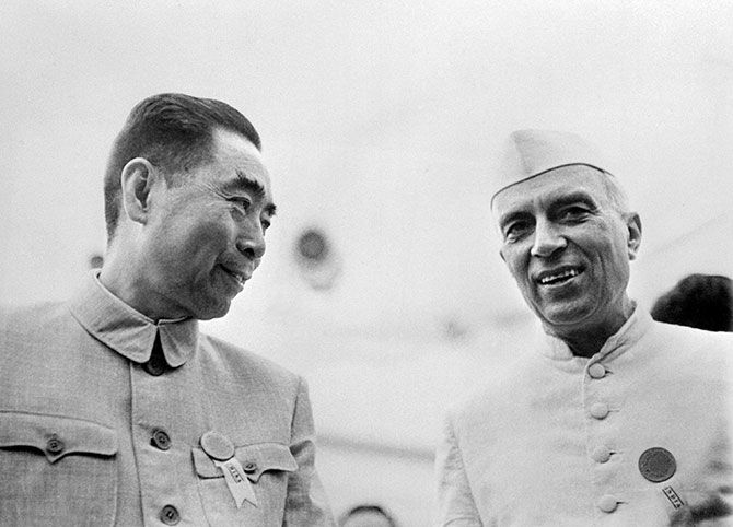 Jawaharlal Nehru with then Chinese premier Zhou Enlai in happier times, 1953