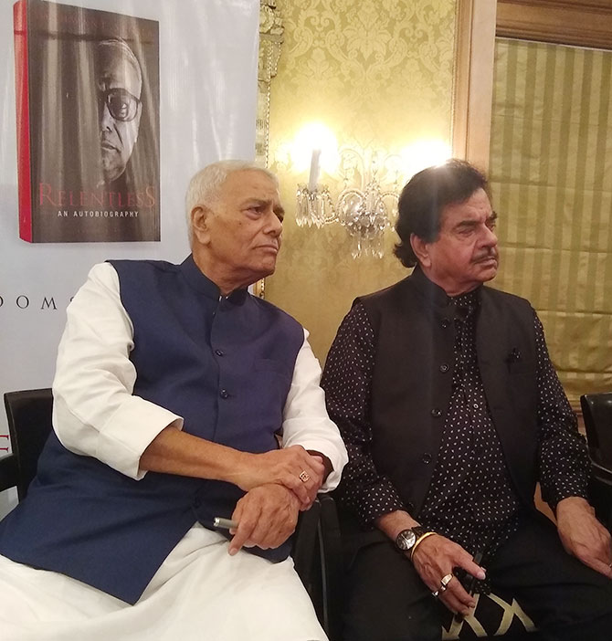 Former finance minister Yashwant Sinha with actor and politician Shatrughan Sinha. Photograph: Vaihayasi Pande Daniel/Rediff.com
