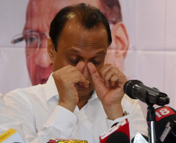Resigning as an MLA in September 2019, an emotional Ajit Pawar said he was hurt by the allegations against him and Nationalist Congress Party President Sharad Pawar. Photograph: Photograph: Sahil Salvi