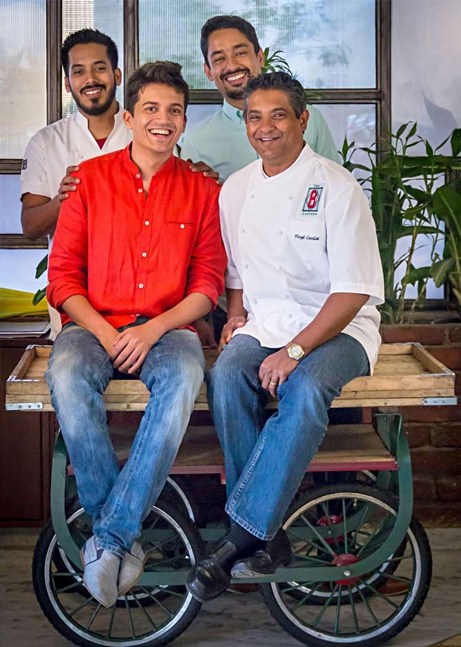 Chef Floyd Cardoz, with Chef Thomas Zacharias and the team behind The Bombay Canteen. Photograph: Courtesy Chef Thomas Zacharias.