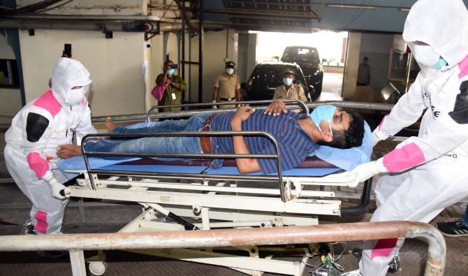 A mock drill conducted by the IMA and the Kochi district administration to show how to handle a COVID-19 patient