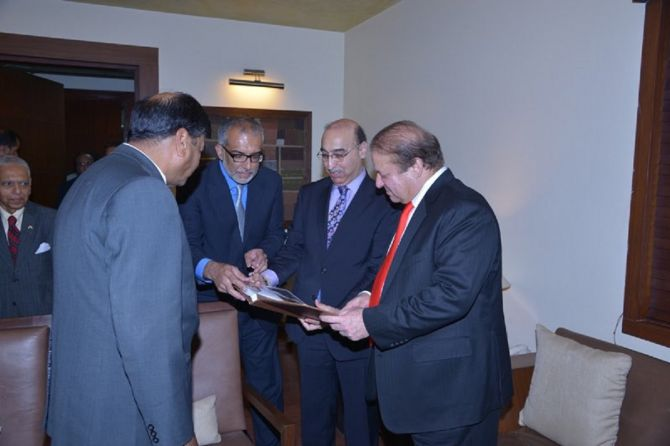 Abdul Basit with former Pakistani Prime Minister Nawaz Sharif. Photograph: Kind courtesy Abdul Basit/Twitter