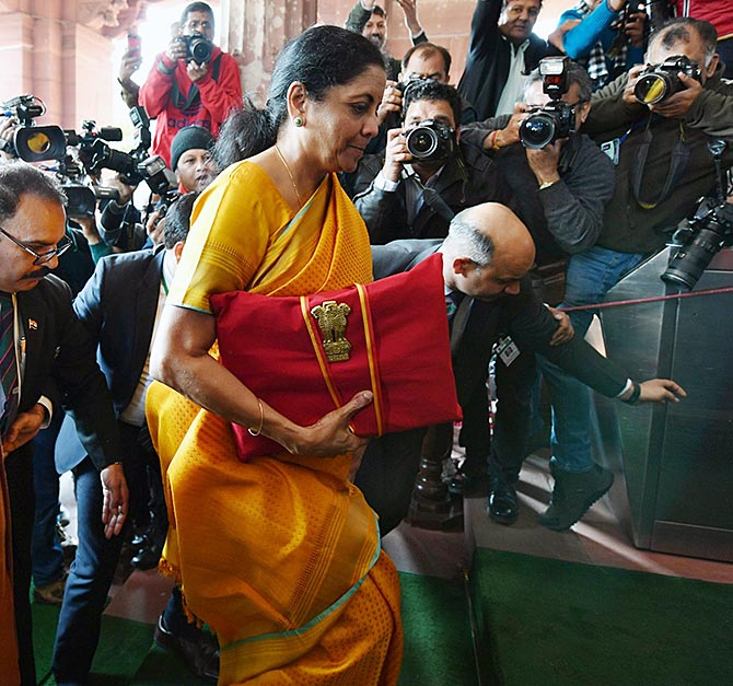Finance Minister Nirmala Sitharaman arrives in Parliament to present the Union Budget, February 1, 2020. Photograph: Press Information Bureau