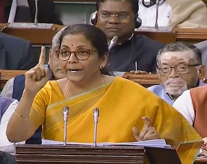 Finance Minister Nirmala Sitharaman delivers the Budget speech in Parliament, February 1, 2020.