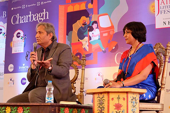 Magsaysay Award winner Raveesh Kumar, an oracle for our times, left, with author Nilanjana Roy at the Jaipur LitFest. Photograph: Kind courtesy JLF/Twitter