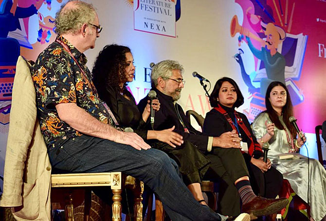 Rana Ayyub, second from left, speaks at the debate 'Has social media divided society?' at the Jaipur LitFest. Photograph: Kind courtesy JLF/Twitter