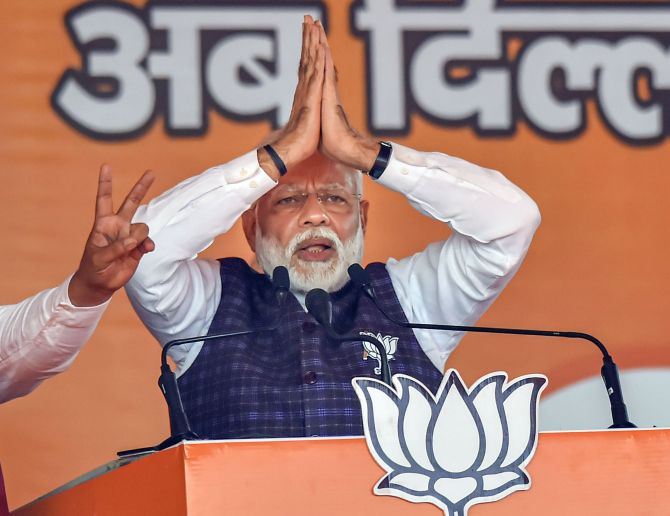 Prime Minister Narendra Damodardas Modi at an election rally in Dwarka, New Delhi, February 4, 2020. Photograph: Ravi Choudhary/PTI Photo