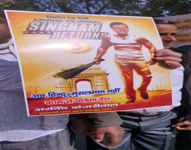 'Nayak', 'Singham' posters at Kejriwal's swearing-in