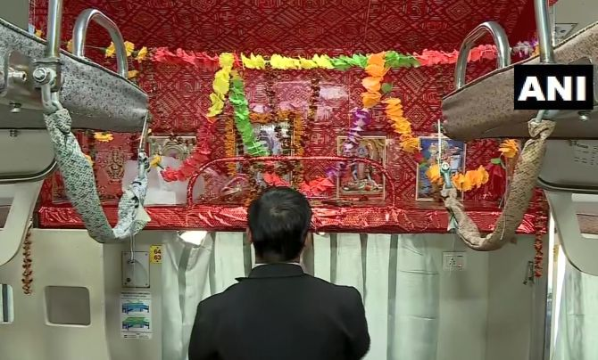 One-time only: Railways as seat turns into mini-temple