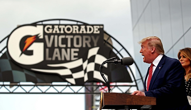 US President Donald Trump with First Lady Melania Trump at the Daytona 500, February 16, 2020. Photograph: Peter Casey-USA TODAY Sports/Reuters