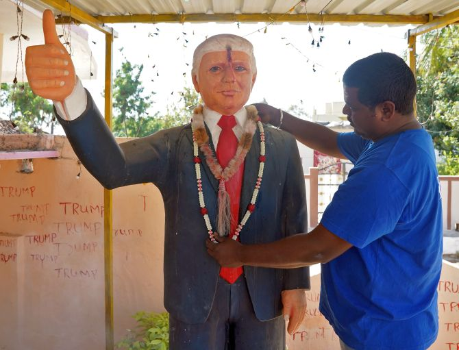 This Trump superfan worships 6-ft statue of US prez