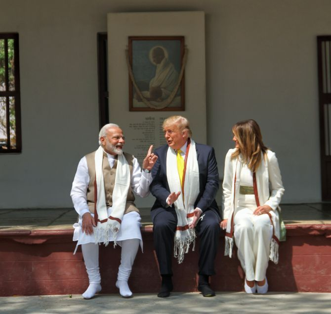 Prime Minister Narendra Damodardas Modi with United States President Donald J Trump and First Lady Melania Trump at the Sabarmati Ashram in Ahmedabad, February 24, 2020. Photograph: MEA/Flickr