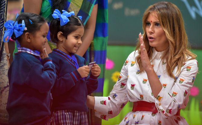 Melania gets her dose of happiness at Delhi school