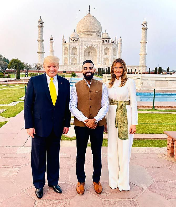 NItin Singh, tourist guide at Taj Mahal, showed the Trumps around the monument