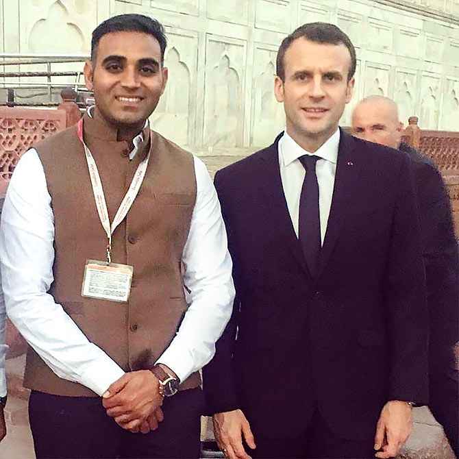 Nitin Singh with French President Emmanuel Macron