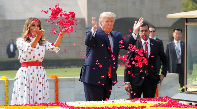 Trump, Melania pay homage to Gandhi at Rajghat