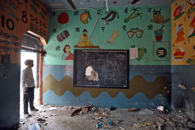 Burnt books, gutted desks at vandalised Delhi schools