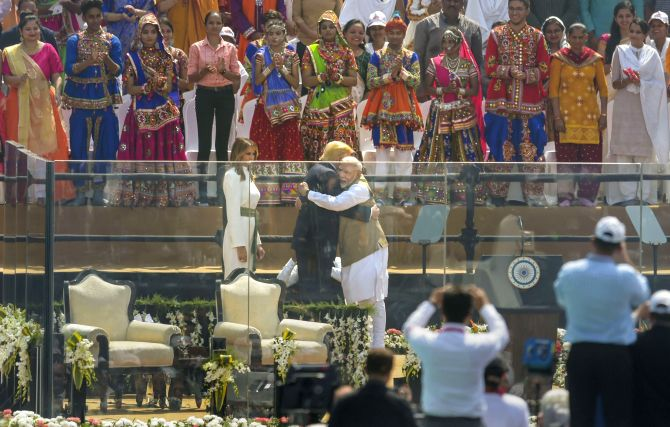 Prime Minister Narendra Damodardas Modi hugs United States President Donald Trump during the Namaste Trump event at the Motera Stadium in Ahmedabad, February 24, 2020. Photograph: Vijay Verma/PTI Photo