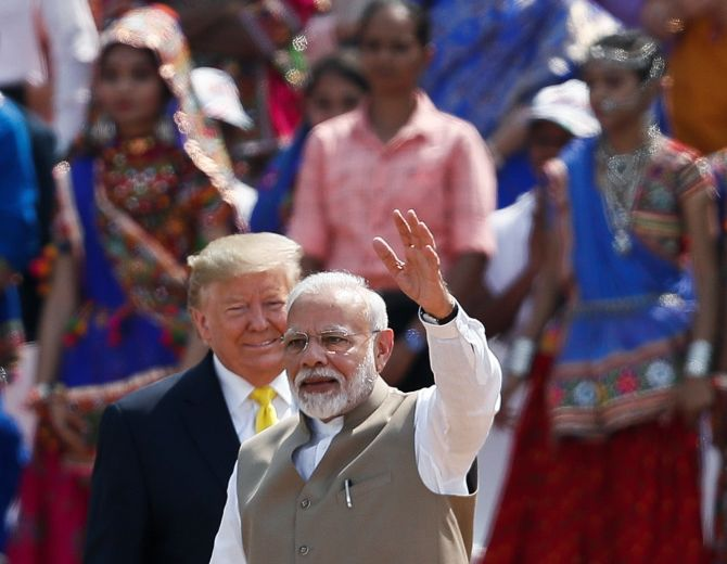 Prime Minister Narendra Damodardas Modi with United States President Donald J Trump at the Motera stadium in Ahmedabad, February 24, 2020. Photograph: Francis Mascarenhas/Reuters