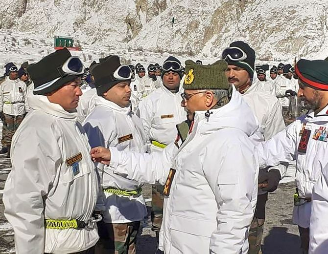 General Manoj Mukund Naravane, chief of the army staff, meets soldiers posted in Siachen on his first visit as COAS