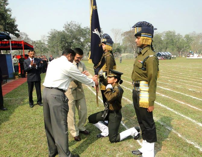 Major Sheena Nayyar at an Indian Army ceremony in the north east
