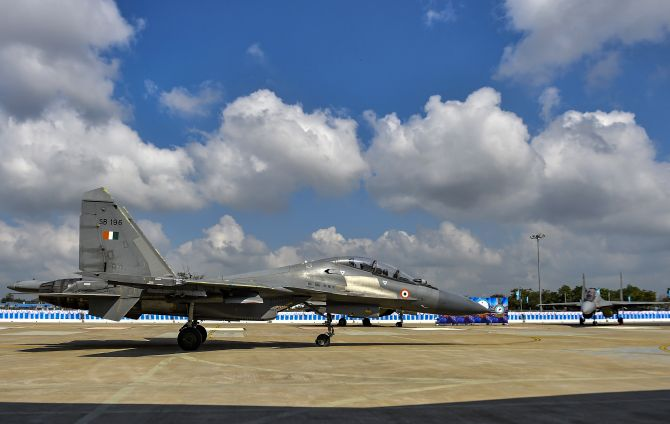 Sukhoi-30MKI fighter aircraft squadron prepares to take off from the Indian Air Force's Thanjavur airbase, January 20, 2020.  Photograph: R Senthil Kumar/PTI Photo