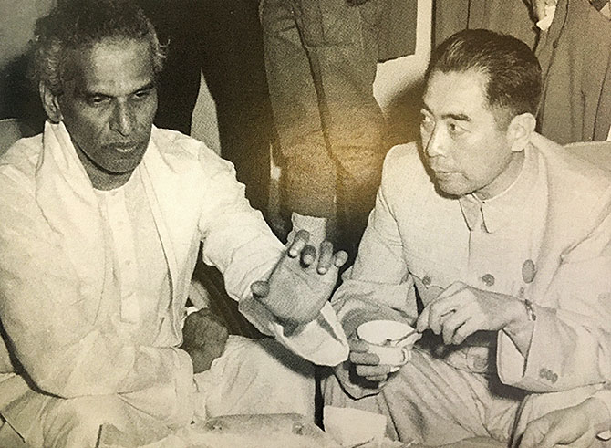 V K Krishna Menon with Chinese Premier Zhou EnLai at the Bandung conference, April 1955. Photograph: Kind courtesy A Chequered Brilliance, The Many Lives of Krishna Menon