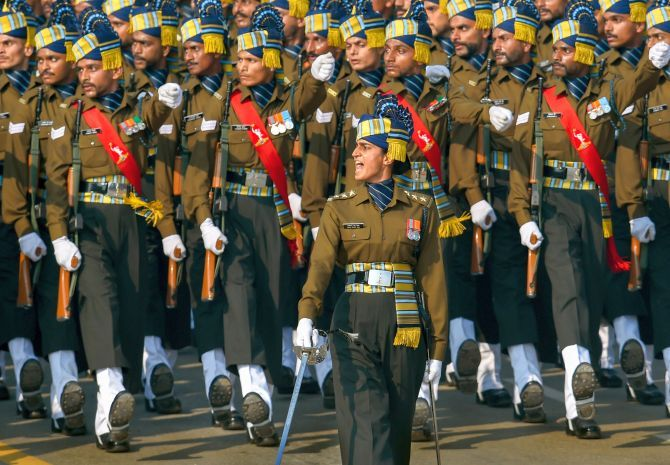 The Indian Army's Corps of Signals contingent, led by Captain Tania Shergill, marches during the Republic Day Parade, January 26, 2020. Photograph: Kamal Singh/PTI Photo