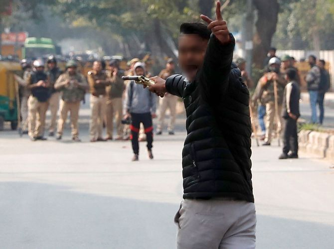 The Class 12 student who opened fire on protesting students at Jamia Millia, January 30, 2020. Photograph: Danish Siddiqui/Reuters