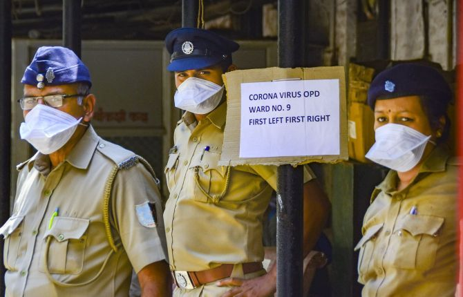 Security personnel at the Kasturba hospital in Mumbai, which tests individuals for coronavirus, March 15, 2020. Photograph: PTI Photo