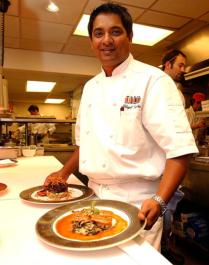 Master Chef Floyd Cardoz at his restaurant Tabla in the early 2000s. Photograph: Paresh Gandhi