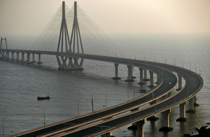 The deserted Bandra-Worli sea link, March 22, 2020. Photograph: Francis Mascarenhas/Reuters