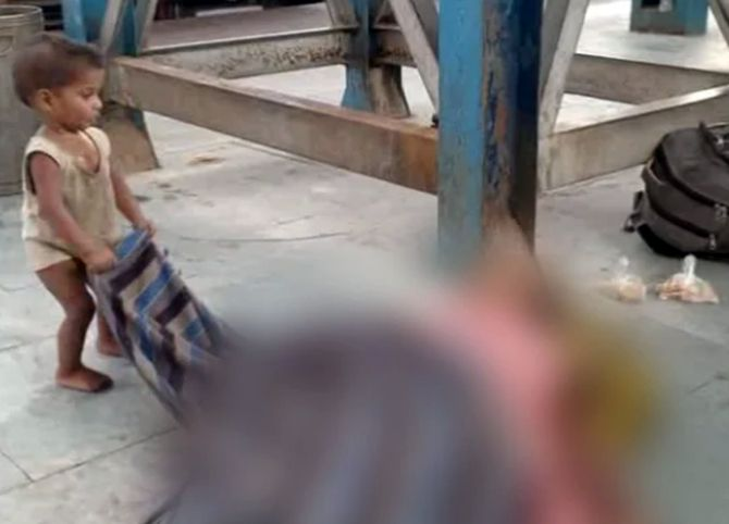 Shocking! Baby tries to wake dead mother at station