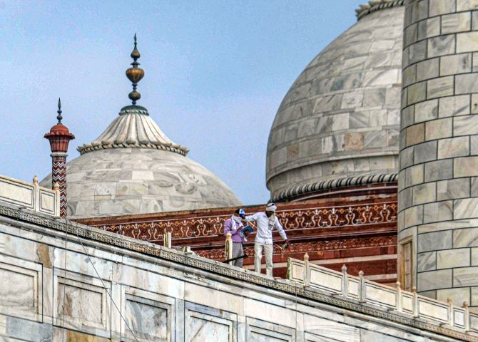 Parts of Taj Mahal damaged in thunderstorm