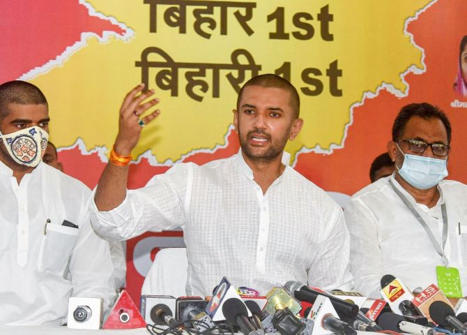 LJP chief Chirag Paswan addresses a press conference