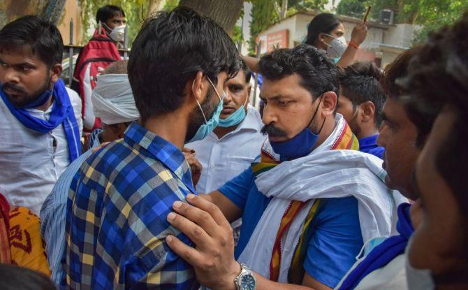 Bhim Army protests over Hathras woman's rape, death - Rediff.com India News