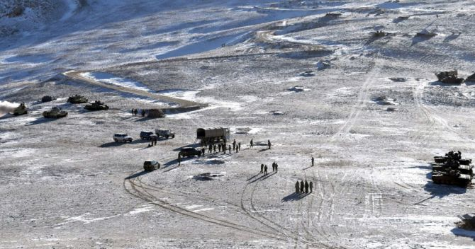 Indian and Chinese troops and tanks disengage from the banks of Pangong lake area in eastern Ladakh where they had been deployed opposite each other for almost ten months. Photograph: PTI Photo
