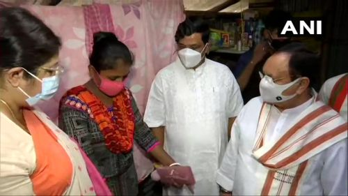 JP Nadda at a BJP booth worker's home which was vandalised