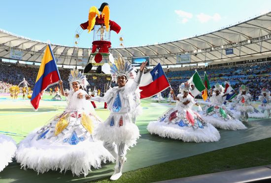 Dancers perform during the closing ceremony prior to the 2014 FIFA World Cup Brazil Final
