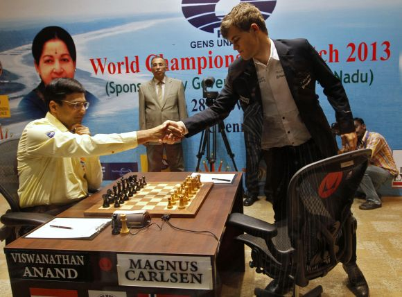 Viswanathan Anand and Magnus Carlsen during the World Championship match in Chennai.