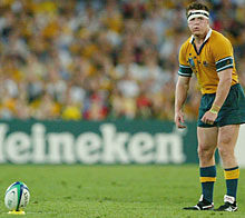 On the mark: Australian centre Elton Flatley has a better kicking percentage than Wilkinson