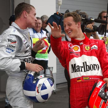 David Coulthard with Michael Schumacher