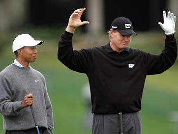 Ernie Els (right) with Tiger Woods