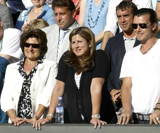 Federer's wife Miroslava Vavrinec watches from Centre Court